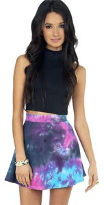 Tobi Tie Dye Skater Mini Cotton Mini Skirt Purple
