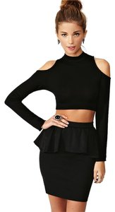 Nasty Gal Peplum Mini Tight Mini Skirt Black