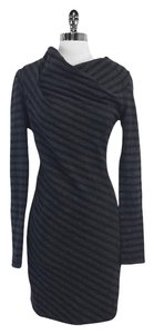 AllSaints short dress Grey Black Striped Wool Cowl Neck on Tradesy