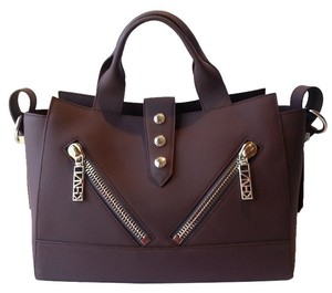Kenzo Gommato Leather Tote in Prune