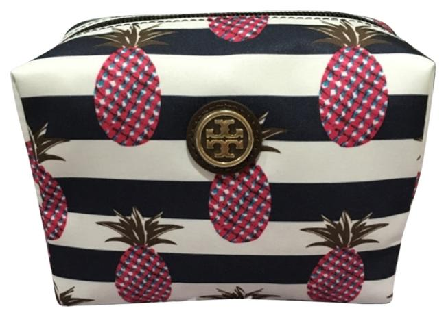 Item - Pineapple Stripe Pink Blue White Printed Nylon Cosmetic Bag