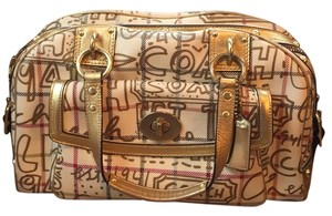 Coach Satchel in Tan/gold