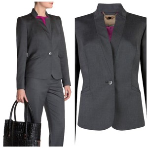Ted Baker Suit High Collar Single Button Contrast Office Professional Grey Blazer
