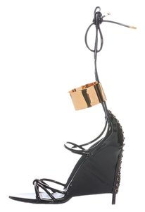 Tom Ford Black Patent Corset Sexy Gold Sandals