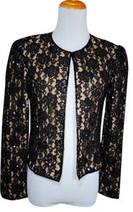 Andretta Donatello Sequin Lace Beaded Jacket Evening Glam Date Night Holiday Night Out Party Black Nude Blazer