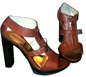Michael Kors Size 8.5 Chunky Leather Brown Cognac Sandals
