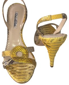 Oscar de la Renta Snakeskin Python Alligator Skins Croc Crocodile Leather Made In Italy Cavalli Versace Dolce Gucci Open Toe Gold Kors Pumps