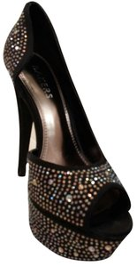 Bakers Wedges Bling Crystal Embellishments Black with studs Formal