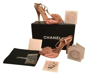 Chanel New In Box Silk Camellia Flower Cc Logo Pink Sandals