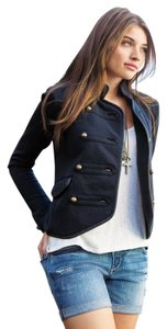 Aéropostale Leather Trim Military Jacket Officer Jacket Brass Buttons Black Blazer