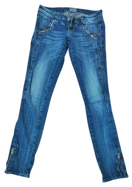Express Zipper Detail Skinny Jeans-Medium Wash