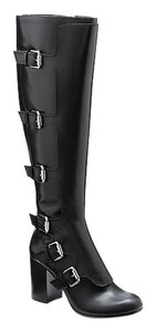 Vince Camuto Manmade-covered Heel Black Boots