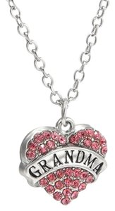 Grandma Crystal Pink Heart Handmade Charm Pendant Necklace