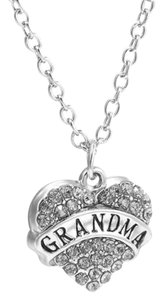 Other Grandma Crystal Silver Heart Handmade Charm Pendant Necklace
