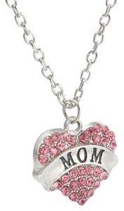 Mom Crystal Pink Heart Handmade Charm Pendant Necklace