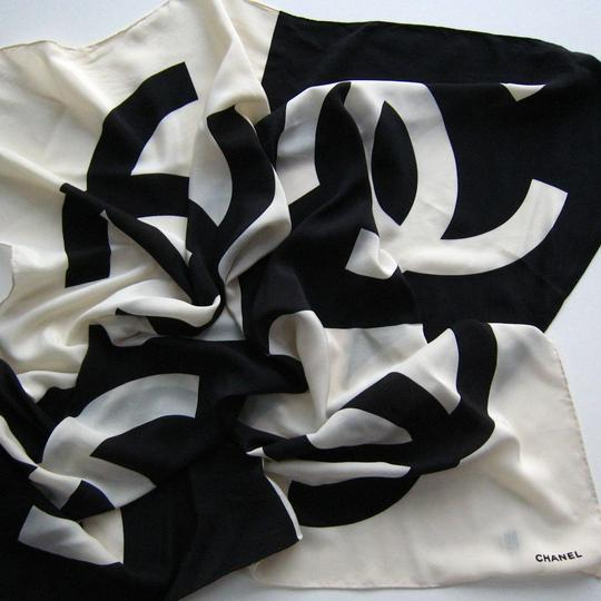 Chanel Vintage Chanel Double C Logo Scarf, Black and Cream