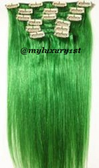 MyLuxury1st Green Clip In Remy Human Extensions 70g 7 Pieces Hair Accessory