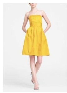 David's Bridal Sunshine Cotton Sateen Strapless with Ruching and Pockets #83312 Casual Bridesmaid/Mob Dress Size 10 (M)