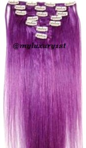 MyLuxury1st Clip In Remy Human Hair Extensions 70g 7 Pieces Purple