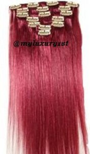 MyLuxury1st Clip In Remy Human Hair Extensions 70g 7 Pieces Burgundy