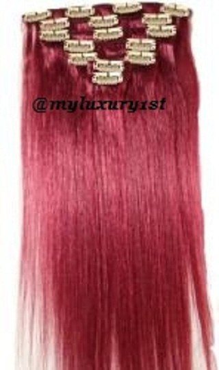 MyLuxury1st Burgundy Clip In Remy Human Extensions 70g 7 Pieces Hair Accessory