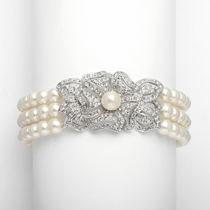 Ivory Three Row Pearl with Vintage Center Embellishment Bracelet