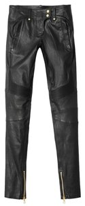 Balmain x H&M Leather Biker Skinny Pants Black