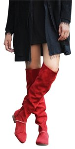 Free People Grandeur Over-the-knee-boot Sz 37 Red Boots