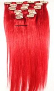 MyLuxury1st Clip In Remy Human Hair Extensions 70g 7 Pieces Red