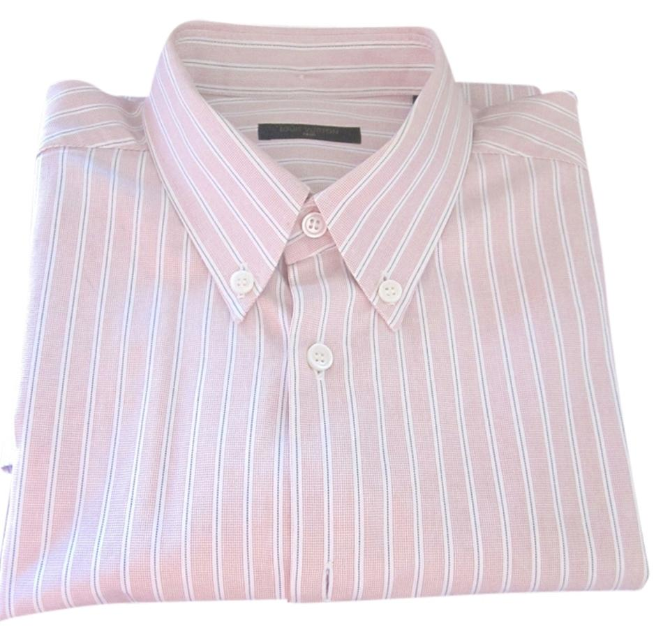 Louis Vuitton Pink L Men S Striped Dress Shirt On Down Top Size 14 19 Off Retail