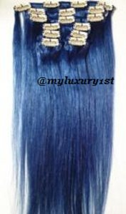 MyLuxury1st Clip In Remy Human Hair Extensions 70g 7 Pieces Blue
