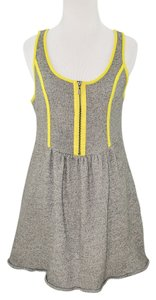 Kensie short dress grey & neon yellow #kensie #piecesbykensie #tankdress #neonpiping on Tradesy