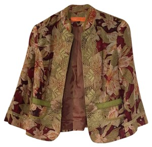Cynthia Steffe Red with floral print and gold inlay. Jacket