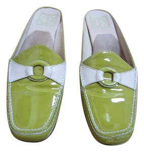 Cole Haan Green and Off White Mules