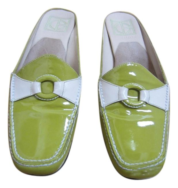 Item - Green and Off White Mules/Slides Size US 8.5 Regular (M, B)