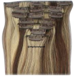 MyLuxury1st Clip In Remy Human Hair Extensions 70g 7 Pieces Bleach Blonde with Medium Brown Highlights 4/613