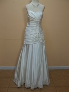 Eden Ivory Satin Sl010 Formal Wedding Dress Size 8 (M)