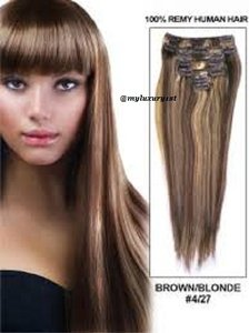 MyLuxury1st Clip In Remy Human Hair Extensions 70g 7 Pieces 4/27 Medium Brown With Strawberry Blonde Highlights