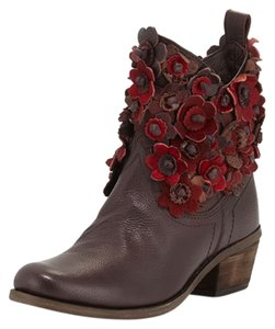 MIA Boot Pony Hair Fringe Leather Burgundy Dark Boots