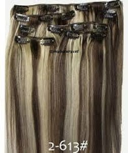 MyLuxury1st Clip In Remy Human Hair Extensions 70g 7 Pieces Bleach Blonde And Chocolate Brown Highlights 2/613