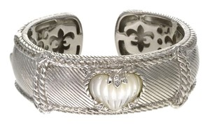 Judith Ripka AMAZING Judith Ripka Heart Mother of Pearl Hinged Cuff Bracelet Sterling Silver