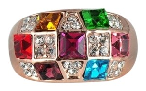 Lzeshine Jewelry Genuine 18K Rose Gold Plated and Paved Multicolor Austrian Crystal Ring