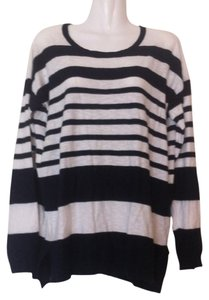 Vince Long Sleeves Striped White Navy Blue Cotton T Shirt White, Blue