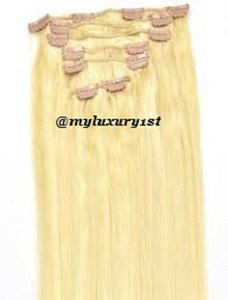 MyLuxury1st Clip In Remy Human Hair Extensions 70g 7 Pieces Bleach Blonde And Ash Blonde Highlights 16/613