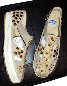 Pseudohearts Boutique Vintage Keds Gold Spike Studded Loafer beige Flats