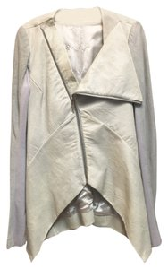 Rick Owens Leather Cream Gray Leather Jacket