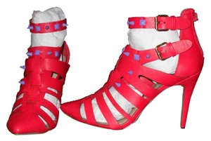 Pseudohearts Boutique Neon Spike Gladiator Sandals Harley Quinn Point Toe Retro Punk Strappy red Pumps