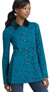 Free People Jacket Pea Jacquard Floral Blue Velvet New Nwt Small Size 4 Size 6 Aqua Bass Buttons Lined Pea Coat