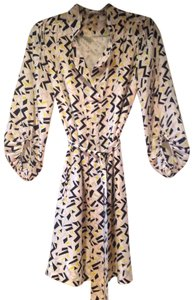 Diane von Furstenberg short dress Silk White/Black/Yellow/Pink Graphic Print on Tradesy