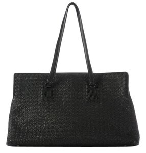 Bottega Veneta Bv.j1012.11 Black Woven Leather Tote